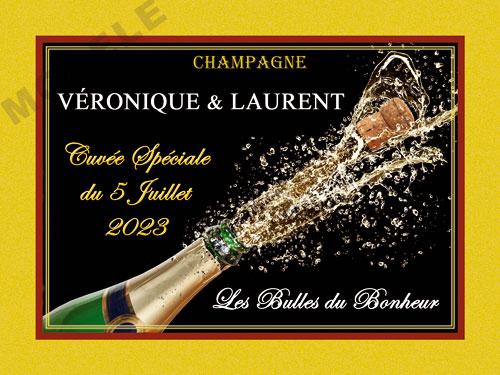 etiquette de mariage pour bouteille de champagne ema 64