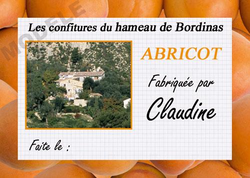 étiquette personnalisée pour confiture d'abricot abr 03