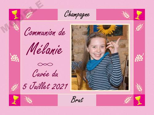 etiquette personnalisée communion pour bouteille de champagne com 12