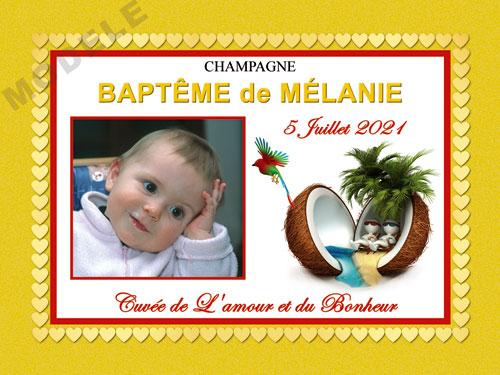 etiquette baptême pour bouteille de champagne eba 45