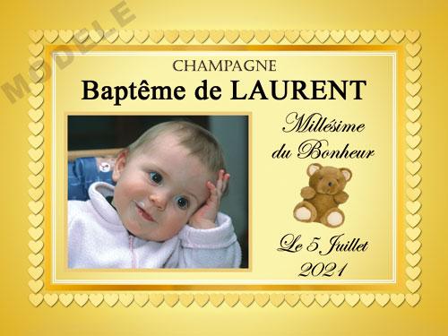 etiquette baptême pour bouteille de champagne eba 49