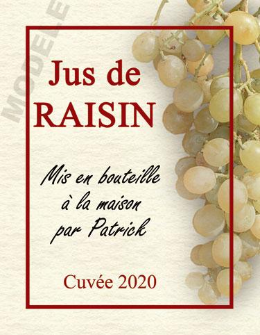 étiquette personnalisée pour bouteille de jus de raisin evj 01