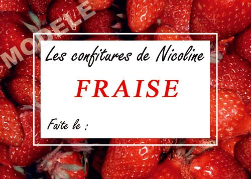 étiquette personnalisée pour confiture de fraise fra 01