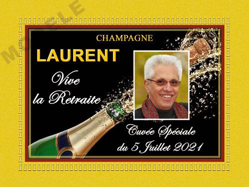 etiquette de champagne personnalisable pour retraite ret 04