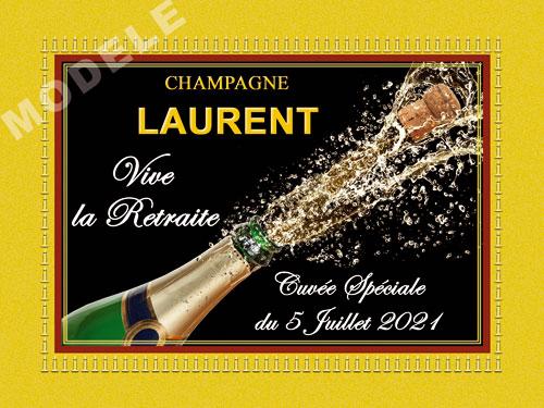 etiquette de champagne personnalisable pour retraite ret 05