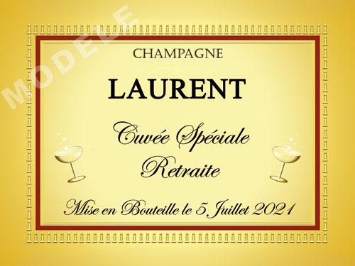 etiquette personnalisée retraite pour bouteille de champagne ret 10