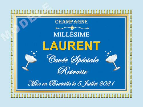 etiquette personnalisée retraite pour bouteille de champagne ret 14