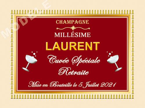 etiquette personnalisée retraite pour bouteille de champagne ret 15