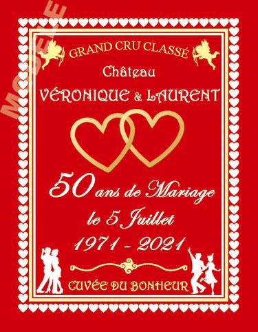 etiquette de vin personnalisable pour anniversaire de mariage vam 04