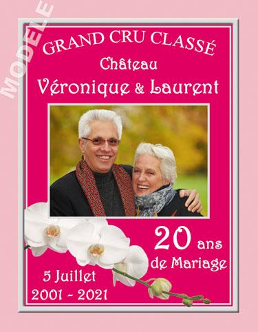 etiquette personnalisée anniversaire de mariage pour bouteille de vin vam 13