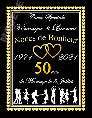 etiquette personnalisée anniversaire de mariage pour bouteille de vin vam 15