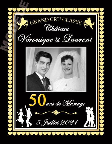 etiquette personnalisée anniversaire de mariage pour bouteille de vin vam 16