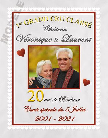 etiquette personnalisée anniversaire de mariage pour bouteille de vin vam 17