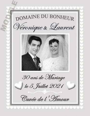etiquette personnalisée anniversaire de mariage pour bouteille de vin vam 18