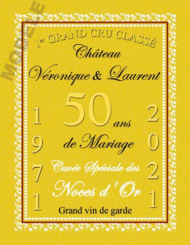 etiquette de vin anniversaire de mariage vam 22
