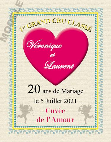 etiquette de vin anniversaire de mariage vam 24