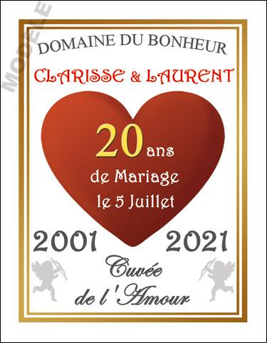 etiquette de vin anniversaire de mariage vam 25