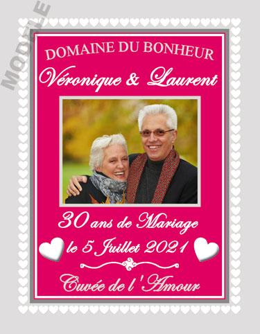etiquette de vin anniversaire de mariage vam 29