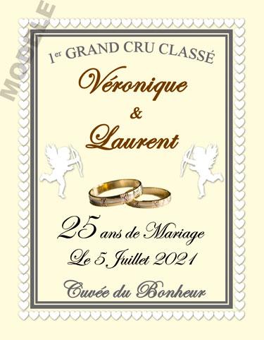 etiquette de vin anniversaire de mariage vam 30