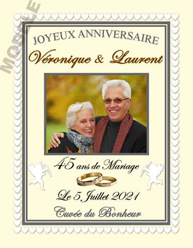 etiquette anniversaire de mariage pour bouteille de vin vam 31