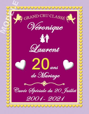 etiquette anniversaire de mariage pour bouteille de vin vam 32