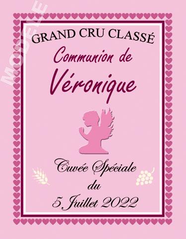 étiquette personnalisée de communion pour bouteille de vin vcom 14