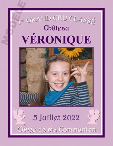 étiquette personnalisée de communion pour bouteille de vin vcom 18