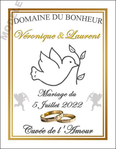 étiquette personnalisée mariage pour bouteille de vin vmar 10