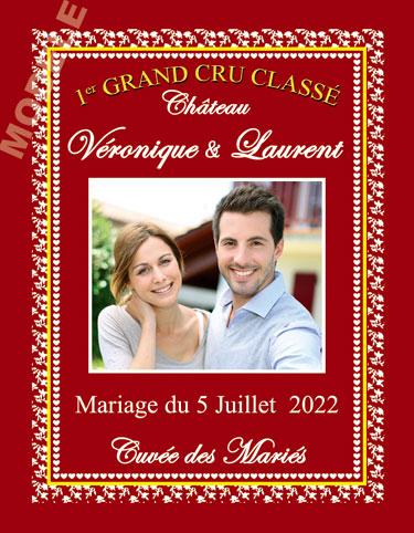 étiquette personnalisée mariage pour bouteille de vin vmar 19
