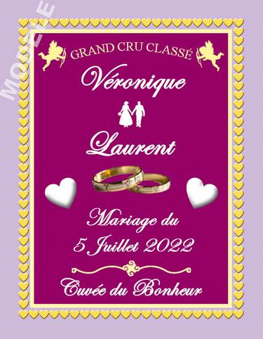 étiquette de vin mariage vmar 22
