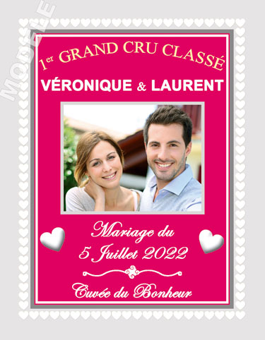 étiquette de vin mariage vmar 28