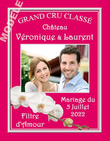 étiquette mariage pour bouteille de vin vmar 32