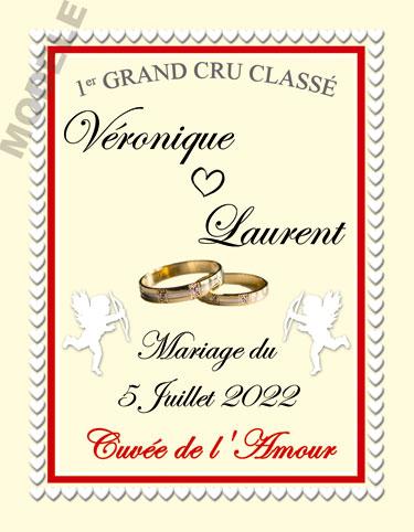 étiquette mariage pour bouteille de vin vmar 33