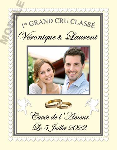étiquette mariage pour bouteille de vin vmar 35