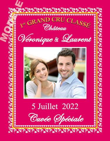 étiquette mariage pour bouteille de vin vmar 40