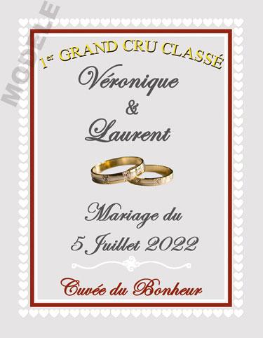 étiquette mariage pour bouteille de vin vmar 42