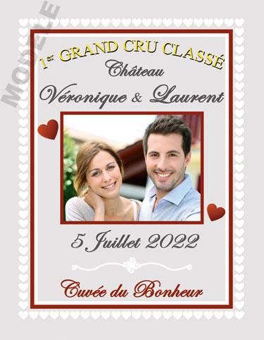 étiquette mariage pour bouteille de vin vmar 43
