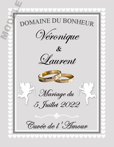 étiquette mariage pour bouteille de vin vmar 44