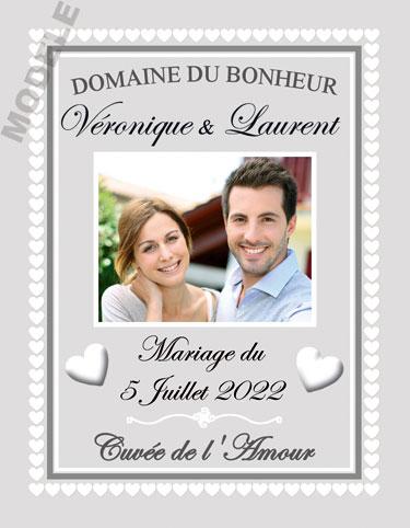étiquette mariage pour bouteille de vin vmar 45