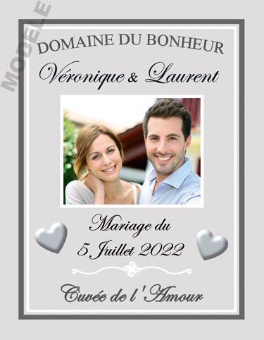 étiquette mariage pour bouteille de vin vmar 46