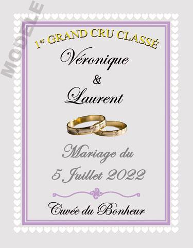 étiquette mariage pour bouteille de vin vmar 51