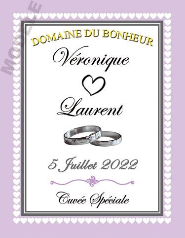 étiquette mariage pour bouteille de vin vmar 52