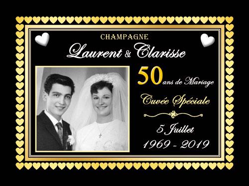 Étiquettes de champagne personnalisées pour anniversaire de mariage