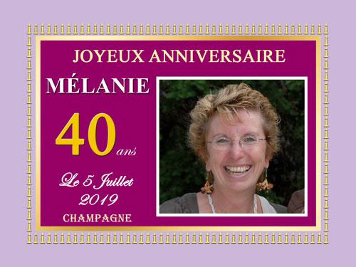 Étiquettes de champagne personnalisées pour anniversaire