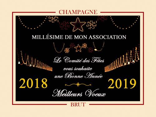 Étiquettes de champagne personnalisées pour nouvel an