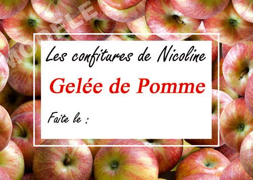 étiquette personnalisée pour confiture de pomme pom 01