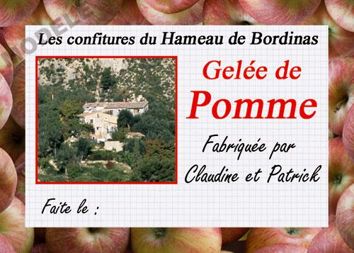 étiquette personnalisée pour confiture de pomme pom 03