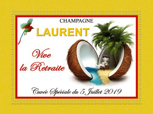 Étiquettes champagne personnalisées pour retraite